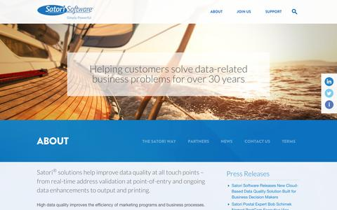 Screenshot of About Page satorisoftware.com - Delivering Data Quality and Mailing Solutions for 30+ years - captured Sept. 22, 2014