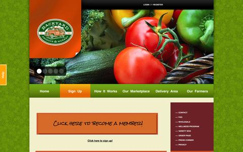Screenshot of Signup Page byproduce.com - Basket Sizes | Backyard Produce - captured Oct. 1, 2014