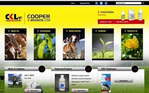 Screenshot of Home Page coopers.co.ke - Cooper K-Brands Ltd - Home - captured Oct. 3, 2014