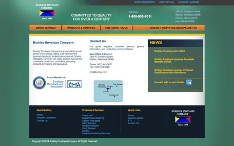 Screenshot of Contact Page burkley.com - Burkley Envelope Company - captured Oct. 5, 2014