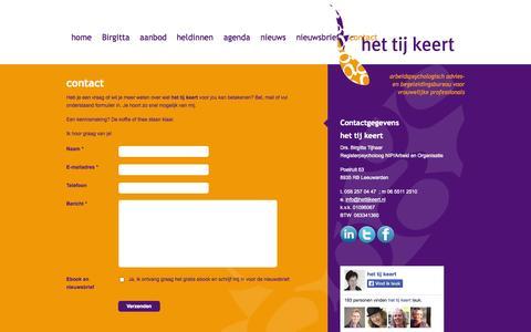 Screenshot of Contact Page hettijkeert.nl - contact - Het Tij Keert - captured Sept. 30, 2014