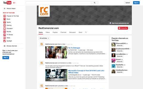 Screenshot of YouTube Page youtube.com - RedComercial.com  - YouTube - captured Oct. 29, 2014
