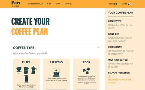 Screenshot of Signup Page pactcoffee.com - Create Your Coffee Plan | Pact Coffee - captured Oct. 10, 2019
