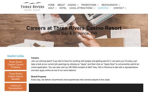 Screenshot of Jobs Page threeriverscasino.com - Careers | Three Rivers Casino Resort | Florence | Coos Bay - captured Oct. 21, 2018