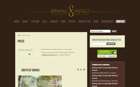 Screenshot of Press Page seekingindigo.com - Press - captured Sept. 30, 2014