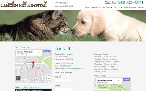 Screenshot of Contact Page camdenpet.com - Contact a Veterinarian in Minneapolis, MN | Camden Pet Hospital - captured July 13, 2017