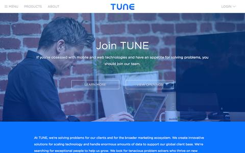 Screenshot of Jobs Page tune.com - TUNE | Looking For a Career? Join Our Team! - captured Nov. 2, 2014