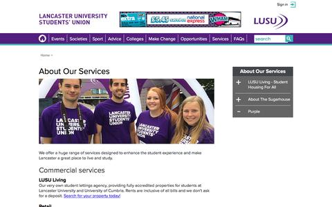 Screenshot of Services Page lusu.co.uk - About Our Services @ Lancaster Students' Union - captured Oct. 20, 2016