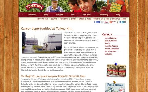 Screenshot of Jobs Page turkeyhill.com - Careers | Turkey Hill Dairy | Imported From Lancaster County - captured Nov. 2, 2014