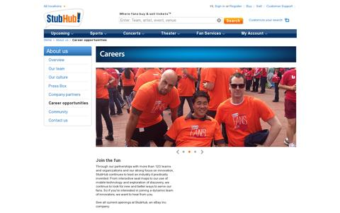 Screenshot of Jobs Page stubhub.com - Tickets at StubHub! Where Fans Buy and Sell Tickets - captured July 20, 2014