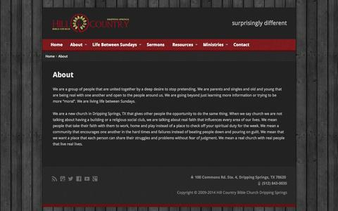 Screenshot of About Page hcbcds.com - A Missional Church | Hill Country Bible Church Dripping Springs - captured Oct. 8, 2014