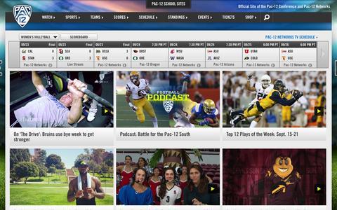 Screenshot of Home Page pac-12.com - Pac-12 - captured Sept. 25, 2014