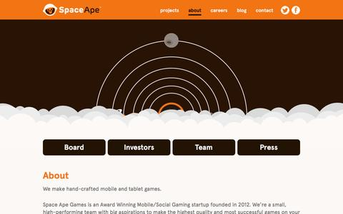 Screenshot of About Page spaceapegames.com - About : Space Ape Games - captured Feb. 13, 2016