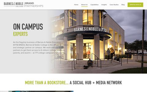 Screenshot of About Page bncollege.com - About Us - Barnes & Noble College Brand Partnerships - captured Oct. 10, 2017