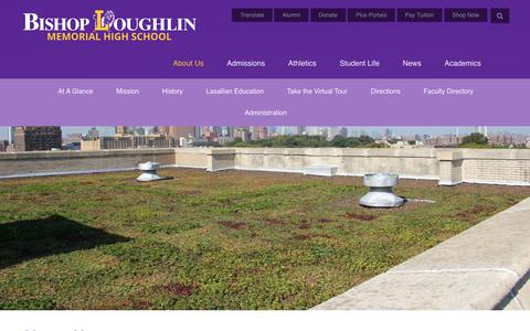 Screenshot of About Page loughlin.org - About Us - Bishop Loughlin Memorial High School - captured July 10, 2018