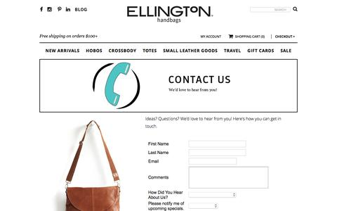 Screenshot of Contact Page ellingtonhandbags.com - Contact Us For Assitance | Ellington Handbags - captured July 13, 2016