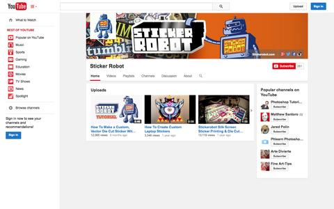 Screenshot of YouTube Page youtube.com - Sticker Robot  - YouTube - captured Oct. 26, 2014