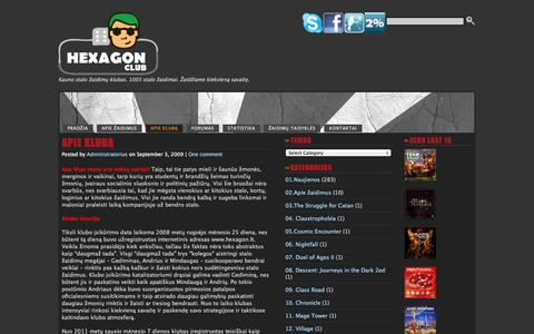 Screenshot of About Page hexagon.lt - APIE KLUBĄ  ·  HEXAGON - captured Nov. 4, 2014