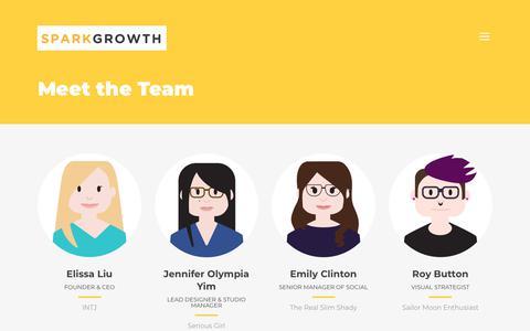 Screenshot of Team Page sparkgrowth.com - Meet the Team - Spark Growth - captured Nov. 19, 2018