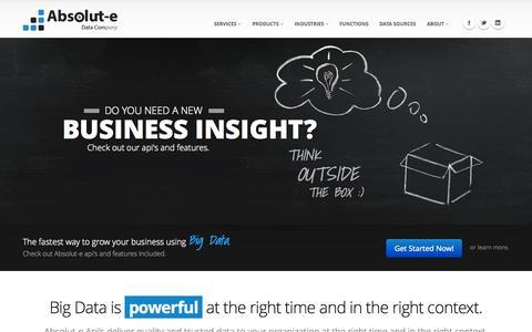 Screenshot of Home Page absolut-e.com - Home - Absolut-e Data Com - captured Oct. 4, 2014