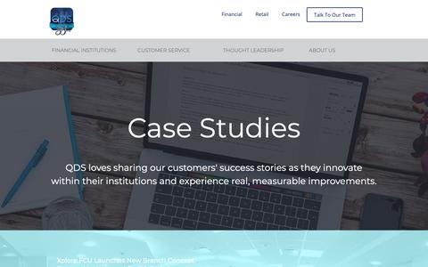 Screenshot of Case Studies Page qualitydatasystems.com - Case Studies - captured Sept. 28, 2018