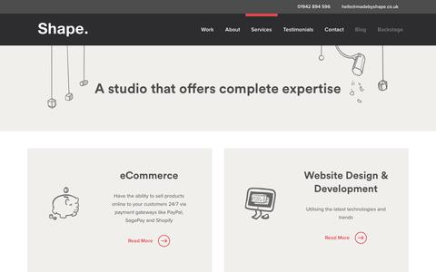 Screenshot of Services Page madebyshape.co.uk - Services | Shape - captured Oct. 21, 2015