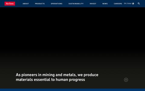 Screenshot of Home Page riotinto.com - As pioneers in mining and metals, we produce materials essential to human progress - captured Jan. 9, 2020