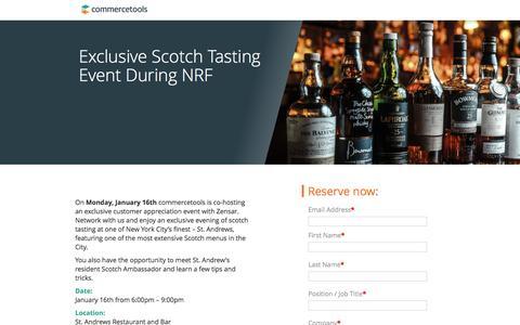 Screenshot of Landing Page commercetools.com - commercetools Whiskey Tasting - captured Feb. 6, 2017