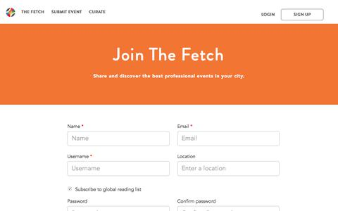 Screenshot of Signup Page thefetch.com - The Fetch - captured June 14, 2017