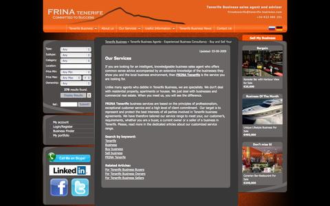 Screenshot of Services Page tenerife-business.com - Tenerife Business Agents - Experienced Business Consultancy - Buy and Sell Your Tenerife Business - captured Sept. 19, 2014
