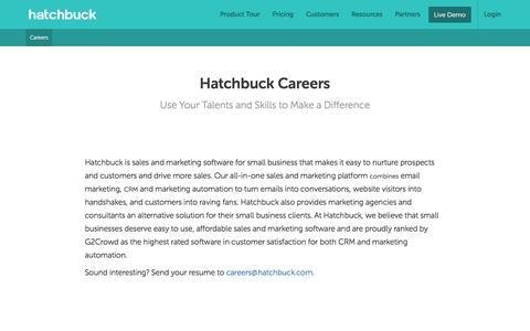 Screenshot of Jobs Page hatchbuck.com - Careers - Hatchbuck - captured May 28, 2016