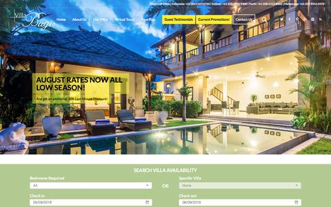 Screenshot of Home Page villabugis.com - Seminyak Villas - Villa Bugis Seminyak Villas - captured Sept. 5, 2016