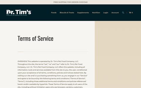 Screenshot of Terms Page drtims.com - Terms of Service – Dr. Tim's Pet Food Company, LLC - captured Nov. 14, 2018