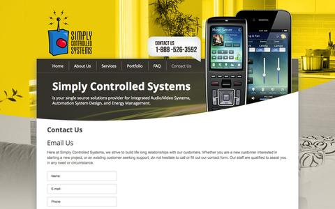 Screenshot of Contact Page simplycontrolledsystems.com - Contact Us - captured Oct. 26, 2014