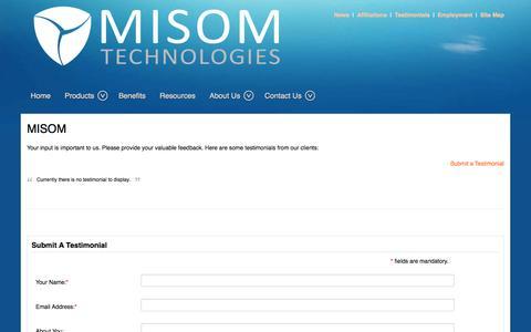 Screenshot of Testimonials Page misom.com - MISOM - captured Oct. 3, 2014