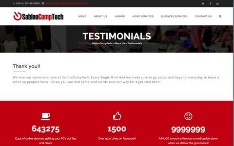 Screenshot of Testimonials Page sabinocomptech.com - Testimonials | SabinoCompTech - captured Oct. 29, 2014
