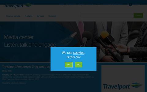 Screenshot of Press Page travelport.com - Media Center | Travelport - captured July 9, 2019