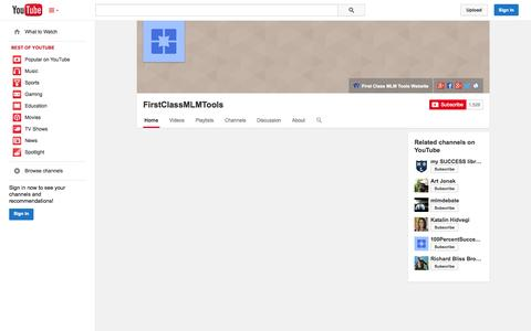 Screenshot of YouTube Page youtube.com - FirstClassMLMTools  - YouTube - captured Oct. 25, 2014