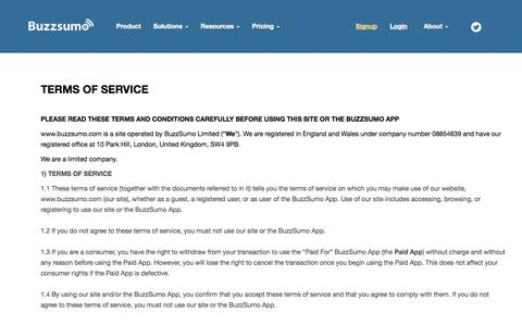 Screenshot of Terms Page buzzsumo.com - Terms and Conditions - captured Oct. 28, 2014