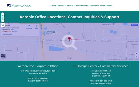 Screenshot of Contact Page aeronix.com - Aeronix Office Locations, Contact Inquiries & Support - captured July 29, 2018