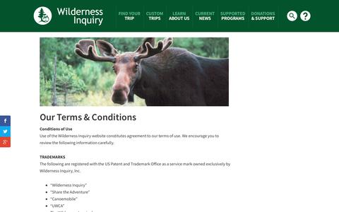 Screenshot of Terms Page wildernessinquiry.org - Terms - Wilderness Inquiry - captured Nov. 5, 2017