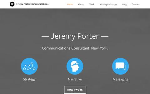 Screenshot of Home Page jrmyprtr.com - Jeremy Porter - Communications consultant based in New York - captured Oct. 6, 2014