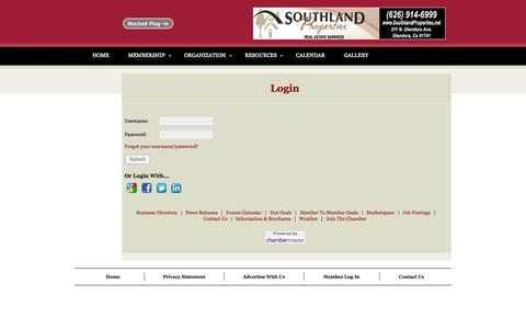 Screenshot of Login Page glendora-chamber.org - Login - Glendora Chamber of Commerce: Glendora, CA. USA - captured Nov. 2, 2014