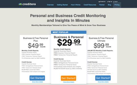 Screenshot of Pricing Page creditera.com - Creditera | Personal and Business Credit Monitoring Pricing - captured Sept. 23, 2014