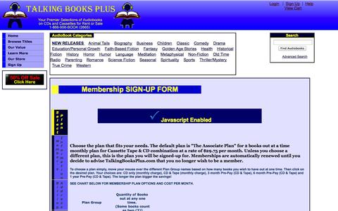 Screenshot of Signup Page talkingbooksplus.com - Sign Up at Talking Books Plus: Your Premier Selections of Abridged and Unabridged Audiobooks on CDs and Cassettes - captured Oct. 9, 2014