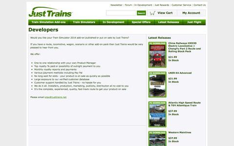 Screenshot of Developers Page justtrains.net - Just Trains - Developers - captured June 18, 2016