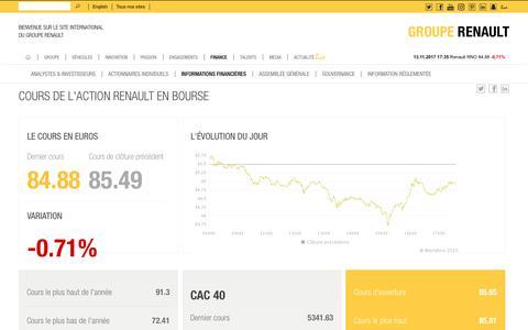 Screenshot of renault.com - Cours de l'action Renault en bourse - Groupe Renault - captured Nov. 14, 2017