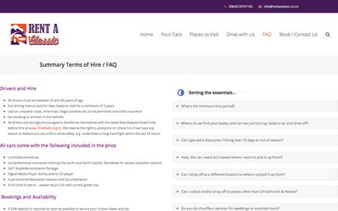 Screenshot of FAQ Page Terms Page rentaclassic.co.nz - Summary Terms of Hire / FAQ - Rentaclassic - captured Sept. 20, 2018