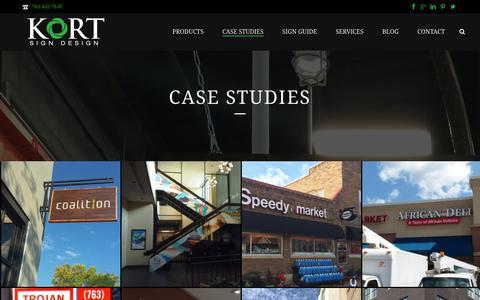 Screenshot of Case Studies Page kortsigns.com - Case Studies - KORT Sign Design - captured Oct. 14, 2018