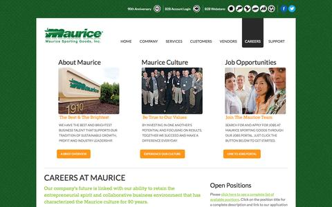Screenshot of Jobs Page maurice.net - Careers at Maurice | Maurice Sporting Goods - captured Oct. 27, 2014